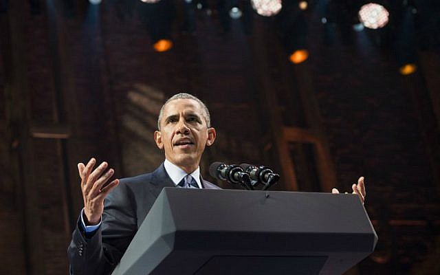 US President Barack Obama speaks during a Democratic fundraiser at the Richard Rodgers Theatre in New York, November 2, 2015. (AFP Photo/Saul Loeb)