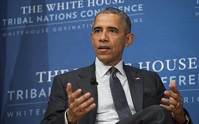 US President Barack Obama speaks during the 2015 White House Tribal Nations Conference in Washington, DC, November 5, 2015. (AFP/Saul Loeb)