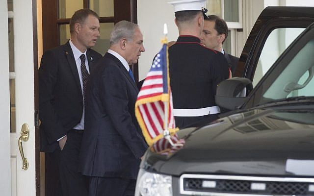 Israeli Prime Minister Benjamin Netanyahu leaves the West Wing following meetings with US President Barack Obama at the White House in Washington, DC, November 9, 2015. (AFP/Saul Loeb)