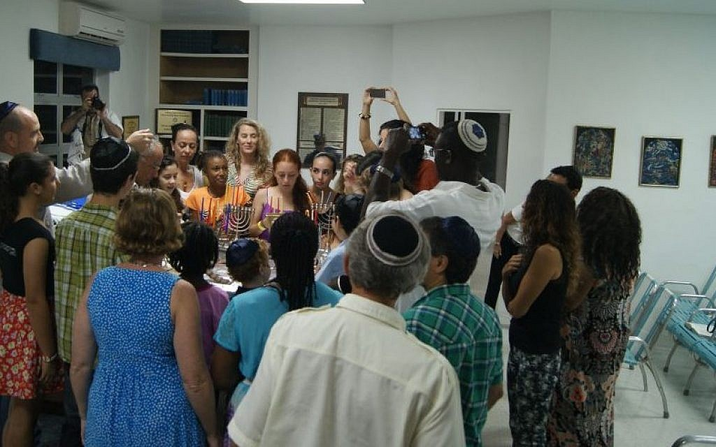 The Jewish community celebrates Hannukah at the Shaare Tzedek Synagogue in Bridgetown, Barbados in December 2014. (Courtesy)