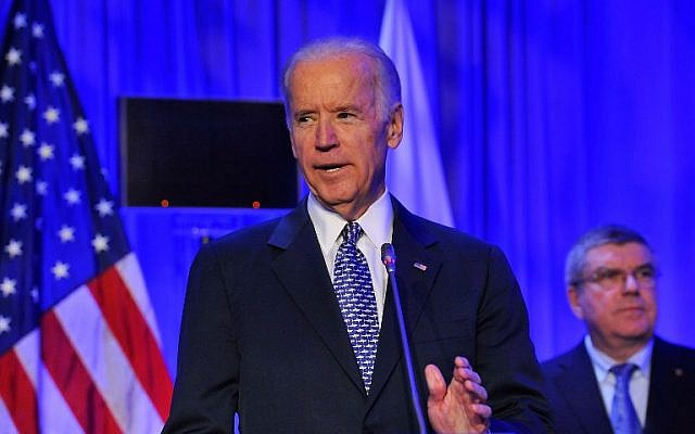 File:  Joe Biden speaks in Washington, DC, on October 30, 2015. (Larry French/Getty Images for ANOC/AFP)