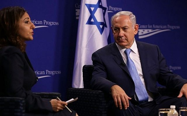 Prime Minister Benjamin Netanyahu participates in a conversation at the Center for American Progress with CAP president Neera Tanden, November 10, 2015 in Washington, DC. (Alex Wong/Getty Images/AFP)