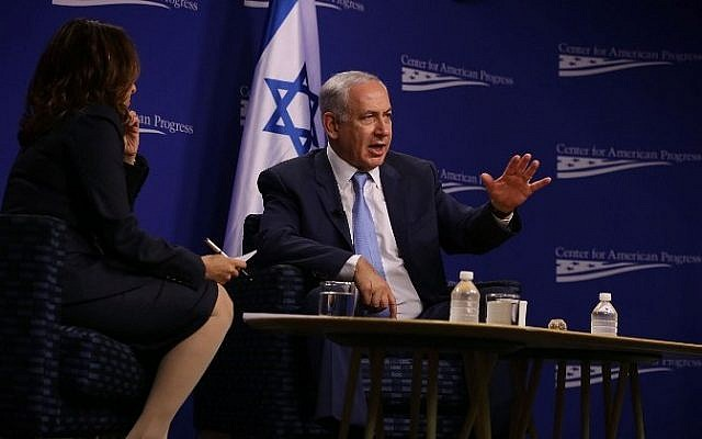 Prime Minister Benjamin Netanyahu participates in a conversation at the Center for American Progress with CAP president Neera Tanden November 10, 2015 in Washington, DC. (Alex Wong/Getty Images/AFP)