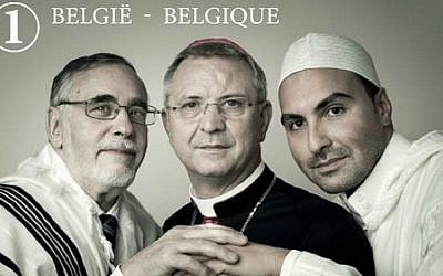 Rabbi Albert Guigui appears on new Belgian stamp along with Imam Khalid Benhaddou and Bishop  Johan Bonny. (Bpost/Lieve Blancquaert)