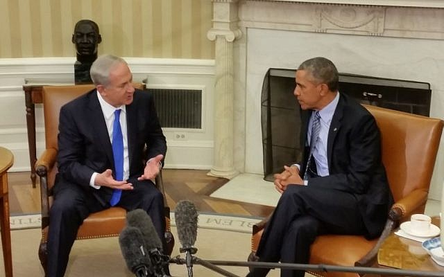 Prime Minister Benjamin Netanyahu meets with US President Barack Obama in the White House on November 9, 2015 (Raphael Ahren/Times of Israel)