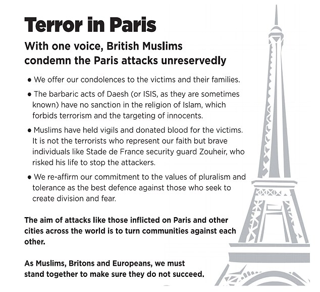 An ad condemning the November 13, 2015 Paris terror attacks published by British Muslims (Screen capture)