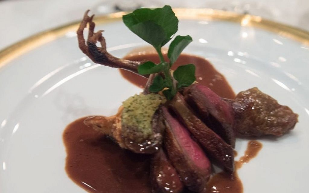 Pressed squab pigeon dish. One of the offerings at this years Kosherfest, sampling the top new offerings in kosher cuisine. (photo credit: CC BY-SA Edsel Little/Flikr)