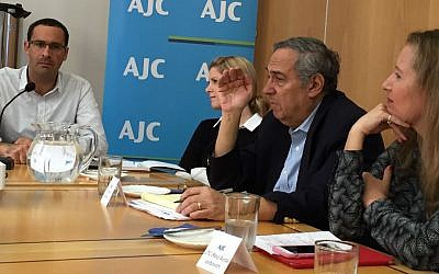 Israeli and American Jewish leaders exchange ideas at a charged session entitled, 'Legal Dimensions of Religious Pluralism in Israel' on November 12, 2015 at the American Jewish Committee's Jerusalem office. From left: Dr. Shuki Friedman, Deena Pulitzer, Steven Bayme and Avital Leibovitz. (Amanda Borschel-Dan/The Times of Israel)