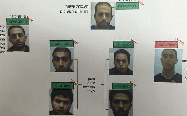Seven Arab Israelis who planned to travel to Syria to fight with the Islamic State group. Only one succeeded, by crossing the border from the Golan Heights on a hang glider in October 2015. (Shin Bet general security services)