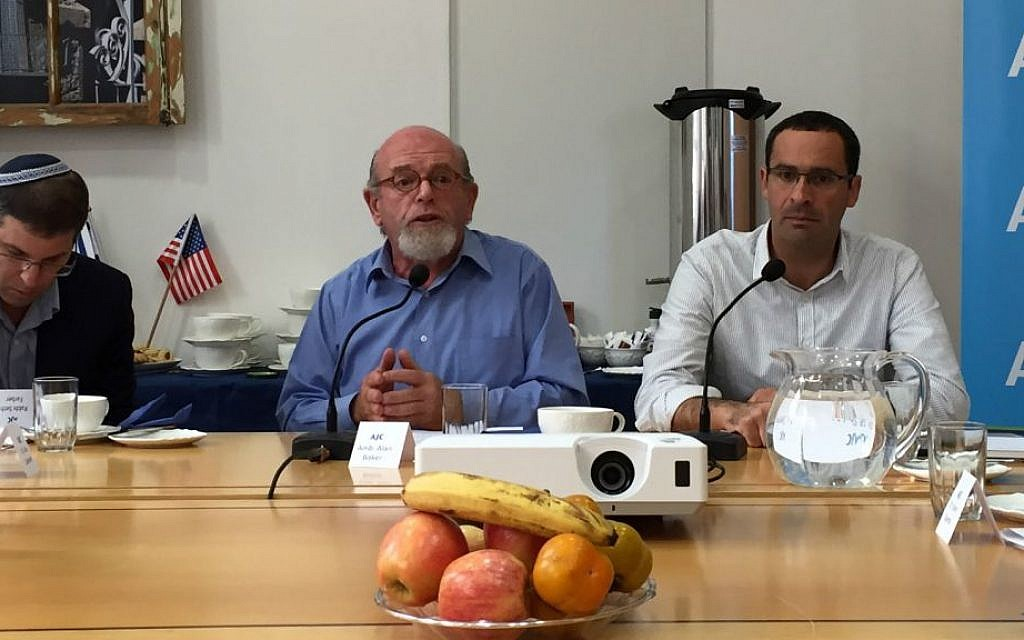 The guest experts at a discussion at the American Jewish Committee's office on November 12, 2015 called 'Legal Dimensions of Religious Pluralism in Israel.' From left to right: Rabbi Seth Farber, founder of ITIM; former Israeli ambassador Alan Baker; and Dr. Shuki Friedman, the director of the Center for Religion, Nation & State. (Amanda Borschel-Dan/The Times of Israel)