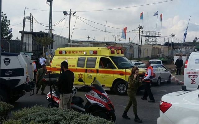 Magen David Adom medics and ambulances at the entrance to the West Bank city of Beitar Illit following a stabbing attack, November 8, 2015. (MDA)