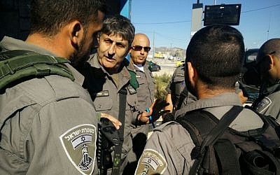 The West Bank Border Police commander, Uzi Levy, arrives on the scene of a car ramming attack at Tapuah Junction in the West Bank on November 24, 2015. (Israel Police)