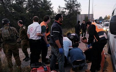 Pictures from the scene of a shooting attack in the Etzion bloc in the West Bank on November 19, 2015. (Magen David Adom)