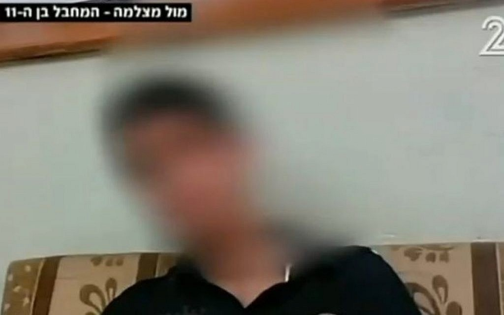 Ayin, 11, who stabbed a security guard on Jerusalem's light rail on November 10, in a Channel 2 interview on November 26, 2015 (Channel 2 screenshot)