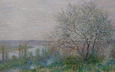 Illustrative: A painting by Claude Monet, Au-dessus de Vétheuil (Effet de printemps), that was reproduced on the website lostart.de, a website publishing reproductions of art suspected of having been looted by the Nazis during World War II. (Courtesy lostart.de)