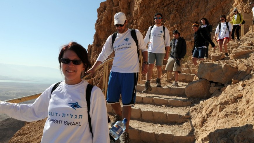 Birthright participants visiting Masada, summer 2012. (Taglit-Birthright/JTA)