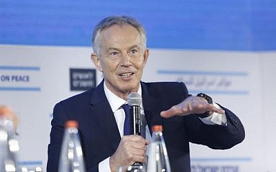 Tony Blair speaks at Haaretz peace conference, November 12, 2015 (Tomer Appelbaum/Israel Conference of Peace)