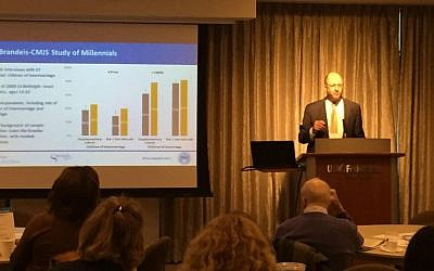 Professor Theodore Sasson, Senior Research Scientist at Brandeis University's Cohen Center for Modern Jewish Studies, presents the new study, 'Millennial Children of Intermarriage: Touchpoints and Trajectories of Jewish Engagement' in New York, October 2015. (courtesy)