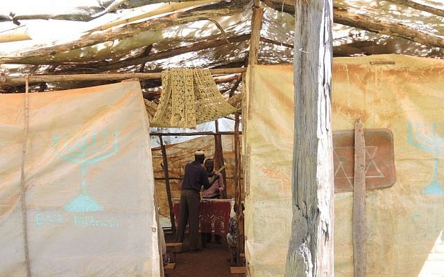 The Kehilat Kasuku synagogue in rural Kenya is made of plastic sheeting and leaks in the rainy season. The community hopes to install a permanent roof this year. (Melanie Lidman/Times of Israel)