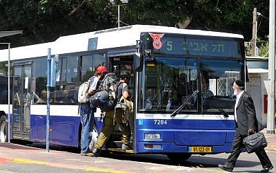 Illustrative photo of a Dan bus. (Yossi Zeliger/Flash90)