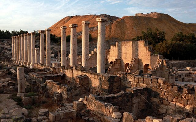 The ruins of Beit Shean, ancient Scythopolis (Yossi Zamir/Flash 90)
