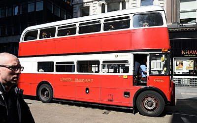 London transport: An old classic double-decker bus in London on April 23, 2015. (Gili Yaari/Flash90)
