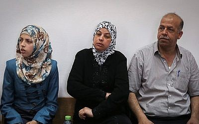 The parents and sister of Muhammed Abu Khdeir attend the Jerusalem District Court during the trial discussion on the murder of Abu Khdeir, on June 8, 2015. (Hadas Parush/Flash90)