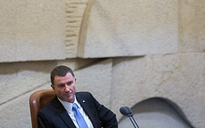 Speaker of the Knesset, Yuli Edelstein seen during a plenum session in the assembly hall of the Israeli Knesset, on July 15, 2015. (Yonatan Sindel/Flash90)