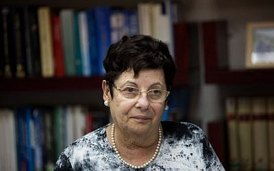 Supreme Court president Miriam Naor seen at the first meeting of the Israeli Judicial Selection Committee at the Justice Ministry in Jerusalem on August 9, 2015. (Yonatan Sindel/Flash90)