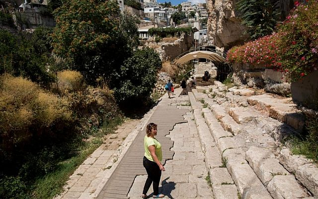 Visitors walk at the City of David in the East Jerusalem neighborhood of Silwan on August 31, 2015. (Yonatan Sindel/Flash90)