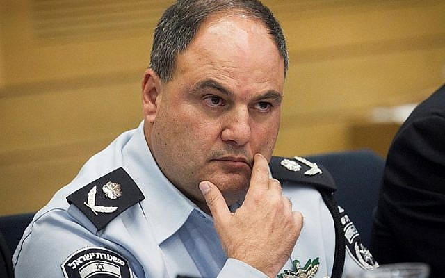 Acting police chief Benzi Sau attends the Internal Affairs committee in the Knesset, on October 12, 2015. (Miriam Alster/FLASH90)