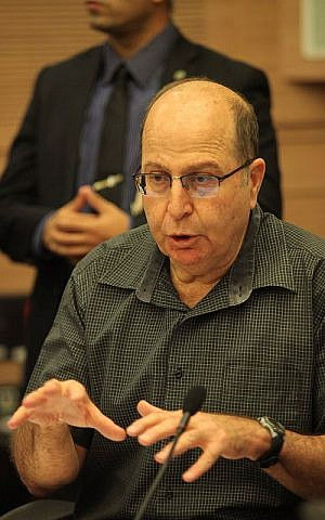 Defense Minister Moshe Ya'alon speaks during a Foreign Affairs and Defense Committee meeting at the Knesset in Jerusalem on November 3, 2015. (Issac Harari/Flash90)