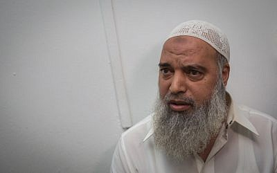 Sheikh Khaled al-Mughrabi at the Jerusalem Magistrate's Court after being arrested for inciting against Israelis and Jews, on November 4, 2015. (Hadas Parush/Flash90)