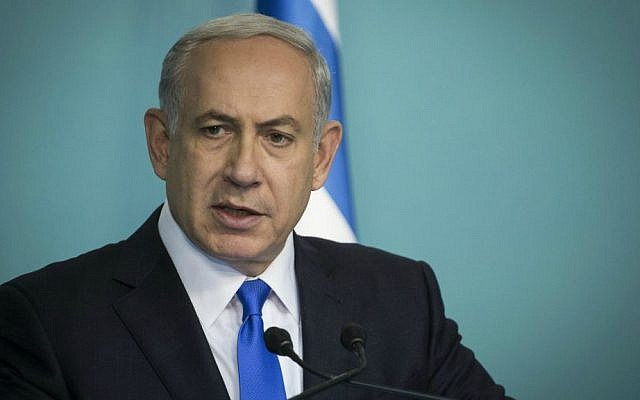 Prime Minister Benjamin Netanyahu delivers a statement to the press in reaction to the previous night's multiple terror attacks in Paris, at his office in Jerusalem, on November 14, 2015. (Hadas Parush/Flash90)