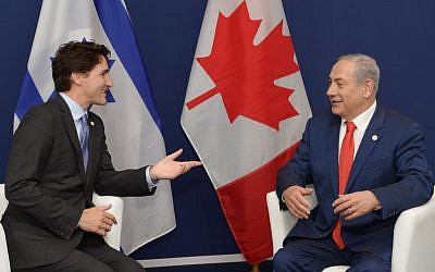Prime Minister Benjamin Netanyahu meets with Canadian Prime Minister Justin Trudeau during the COP21, United Nations Climate Change Conference, in Le Bourget, outside Paris on November 30, 2015. (Amos Ben Gershom/GPO)