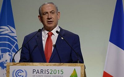 Prime Minister Benjamin Netanyahu speaks during the COP21, United Nations Climate Change Conference, in Le Bourget, outside Paris on November 30, 2015. (Amos Ben Gershom/GPO)