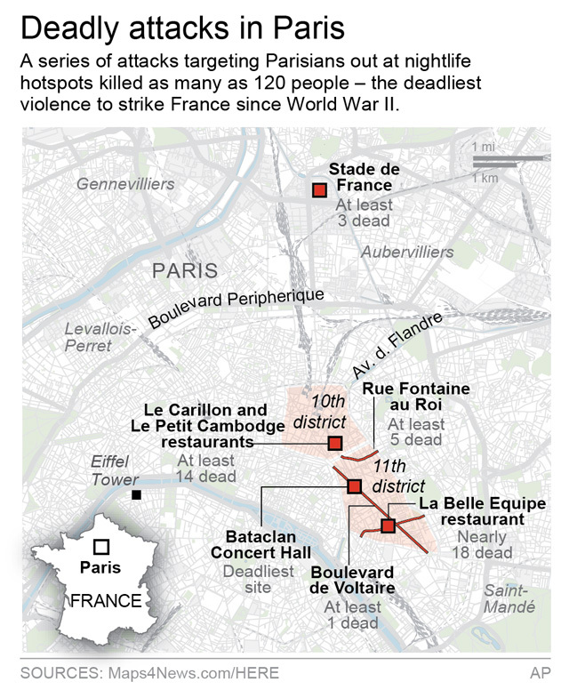 Map locates the deadly terror attacks in and around Paris, France. (AP)