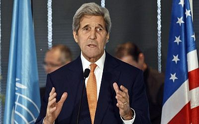 In this Oct.18, 2015 file photo, US Secretary of State John Kerry delivers a speech during a luncheon at the UNESCO in Paris, France. (AP Photo/Michel Euler, File)