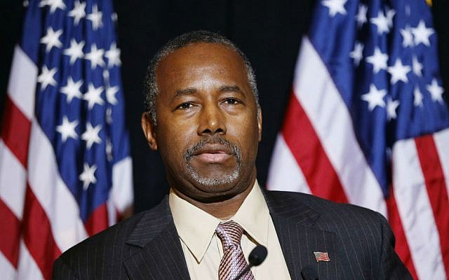 Ben Carson speaks at a news conference, November 16, 2015. (AP/John Locher)