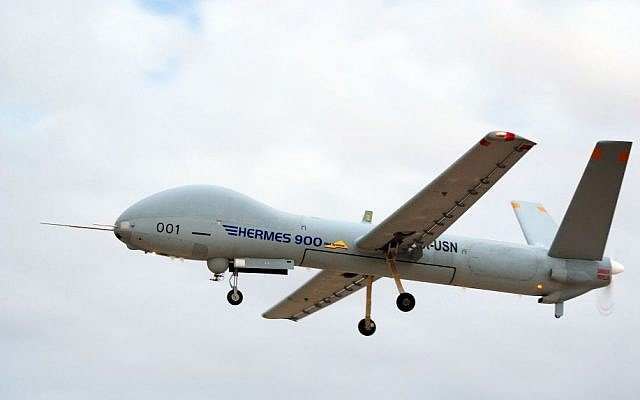 The Hermes 900 UAV by Elbit Systems in flight. (Courtesy Elbit.com)