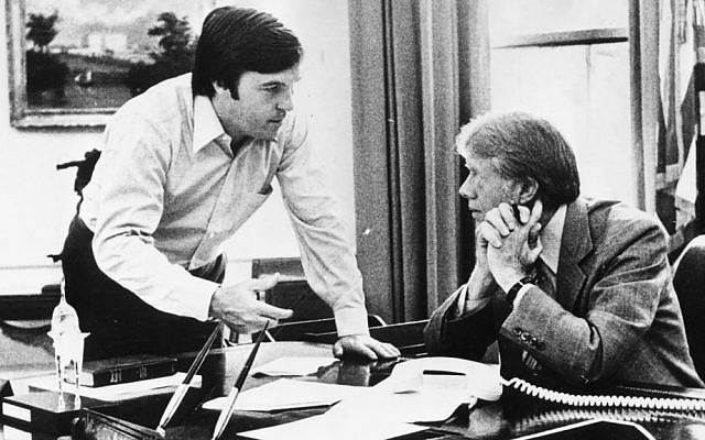 Hamilton Jordan, left, then the White House chief of staff, speaking with president Jimmy Carter at the White House, July 19, 1979. (Keystone/Hulton Archive/Getty Images/via JTA)