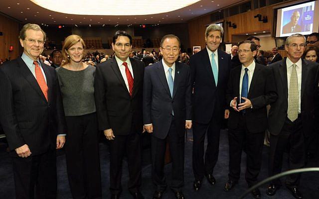 From left: David Harris, Samantha Power, Danny Danon, Ban Ki-moon, John Kerry, Isaac Herzog and Mike Herzog at the UN on November 11, 2015. (Courtesy Leo Sorrel)