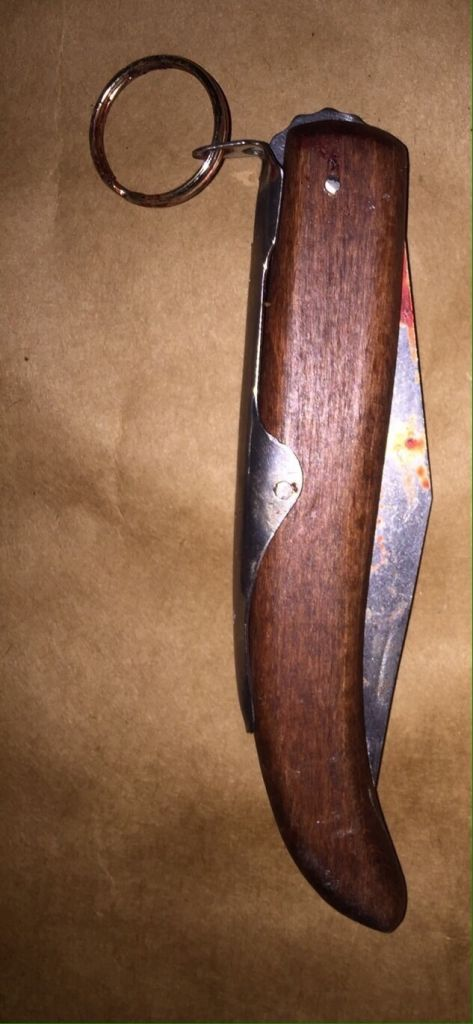A picture of a knife allegedly used by Muhammad a-Tarada in a stabbing terror attack on Saturday evening, November 21 2015. Four people were wounded in the attack in the southern Israel city of Kiryat Gat. (Israel Police)