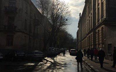 A view of the Lvov Ghetto on the outskirts of the city (Jessica Steinberg/Times of Israel)