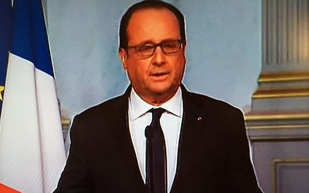 France's President Hollande declares a state of emergency amid multiple attacks in Paris, November 13, 2015 (France 24 screenshot)