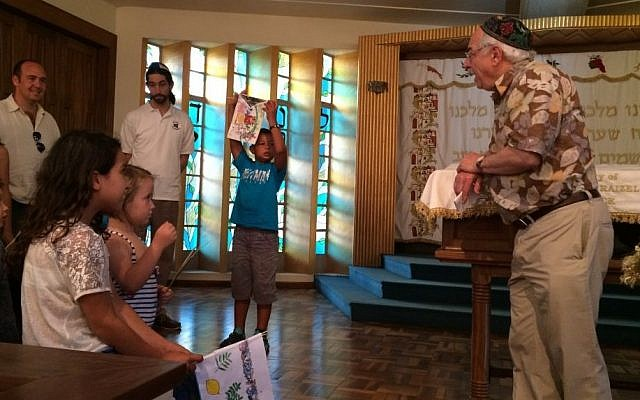 A pre-Simchat Torah celebration for children at the 100-year-old Nairobi Hebrew Congregation in October 2015. (courtesy Barbara Steenstrup/Nairobi Hebrew Congregation)