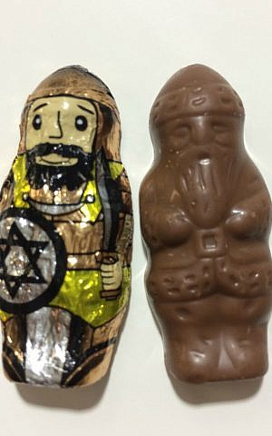 Chocolate Maccabee with Santa Claus inside. (ModernTribe.com)