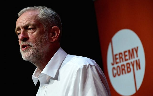 UK Labour leader Jeremy Corbyn delivering a speech during his successful leadership campaign on August 14, 2015, in Edinburgh Scotland. (Mark Runnacles/Getty Images, via JTA)