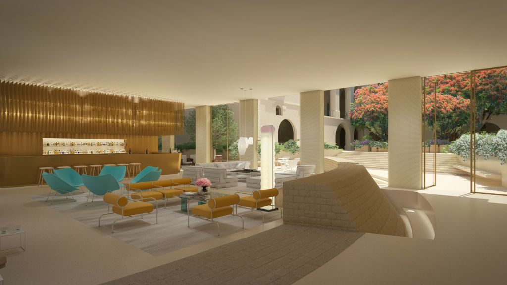 The planned lobby of the W Tel Aviv-Jaffa, where contemporary design will blend with 13th and 18th century finds (Courtesy W Tel Aviv-Jaffa)
