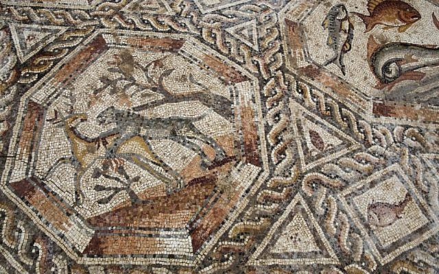 A partial view of a 1,700-year-old Roman-era mosaic floor in Lod, Israel, Nov. 16, 2015. (AP Photo/Ariel Schalit)